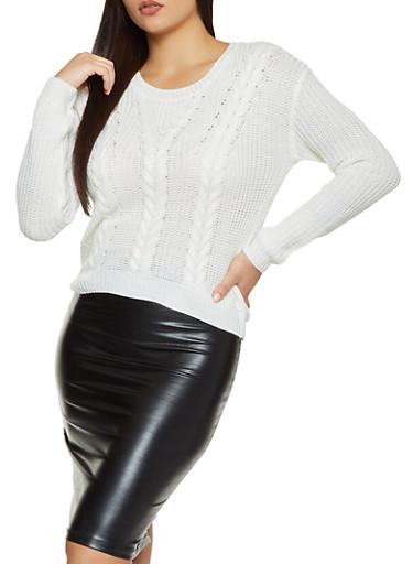 Lace Up V Back Sweater,IVORY,large