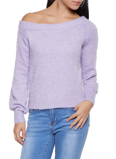 Feathered Knit Off the Shoulder Sweater,PURPLE,large