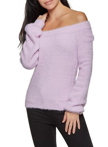 Eyelash Knit Off the Shoulder Sweater,PINK,large