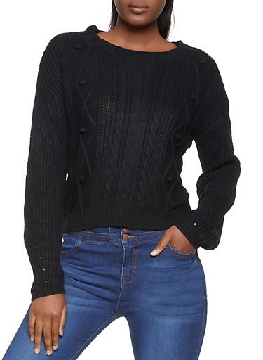 Cable Knit Pom Pom Sweater,BLACK,large
