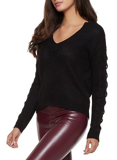 Lace Up Sleeve Sweater,BLACK,large