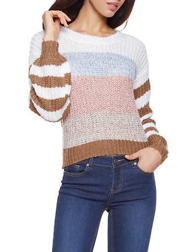 Striped Crew Neck Sweater,BEIGE,large