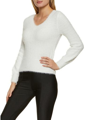 Eyelash Knit V Neck Sweater,IVORY,large