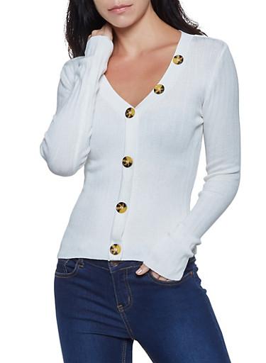 Button Detail Rib Knit Sweater,IVORY,large