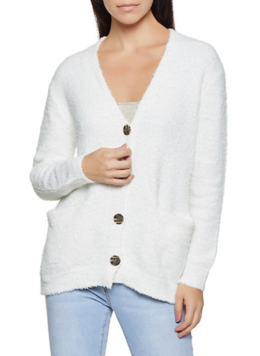 Sherpa Button Front Cardigan,IVORY,large