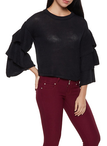 Tiered Sleeve Sweater,BLACK,large