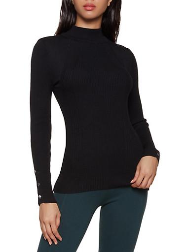 Snap Sleeve Mock Neck Sweater,BLACK,large