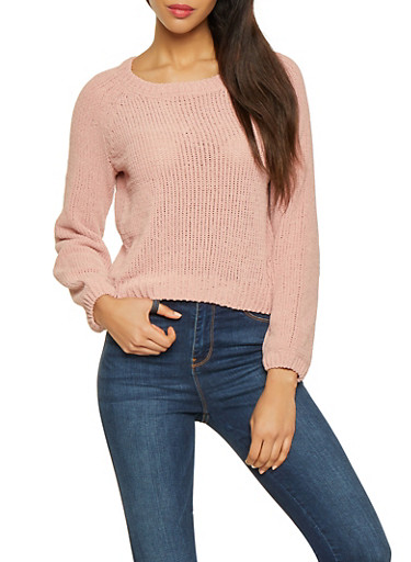Long Sleeve Chenille Sweater,PINK,large