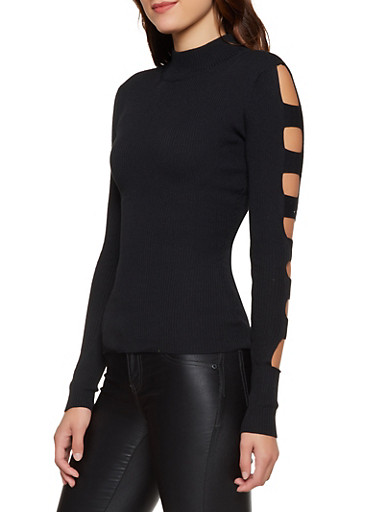 Caged Sleeve Mock Neck Sweater,BLACK,large