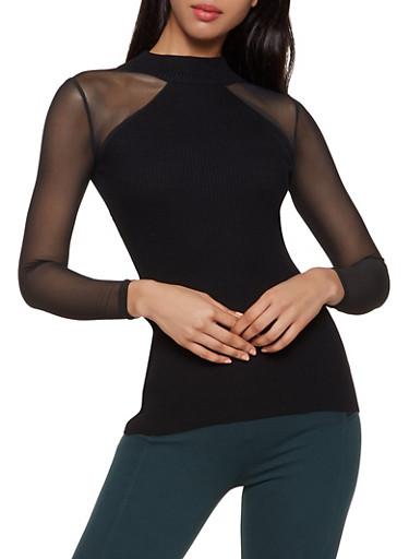 Mesh Sleeve Mock Neck Sweater,BLACK,large