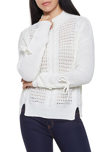 Lace Up Sleeve Cable Knit Sweater,IVORY,large