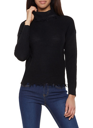Frayed Turtleneck Sweater,BLACK,large