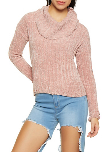 Cowl Neck Chenille Sweater,PINK,large