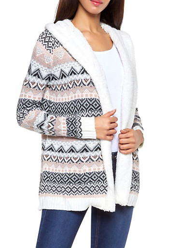 Sherpa Hooded Printed Cardigan,IVORY,large