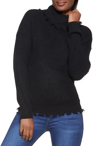 Frayed Knit Turtleneck Sweater,BLACK,large