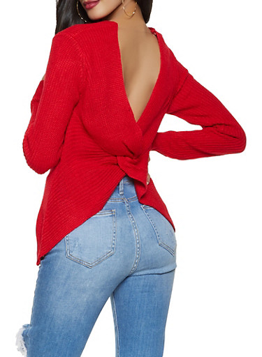 Twist Back Sweater,RED,large