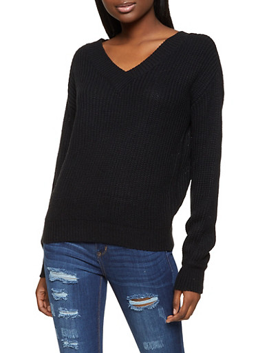 V Neck Long Sleeve Sweater,BLACK,large