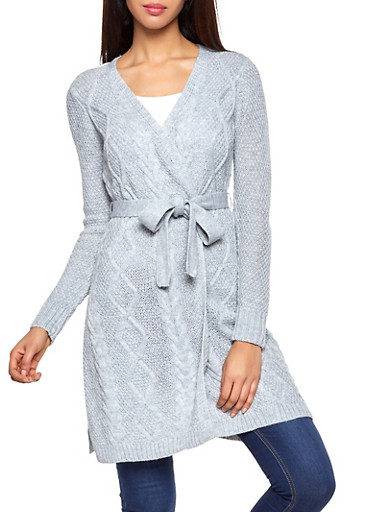 Cable Knit Tie Waist Duster,GRAY,large
