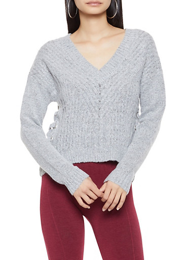 Lace Up Side Sweater,GRAY,large