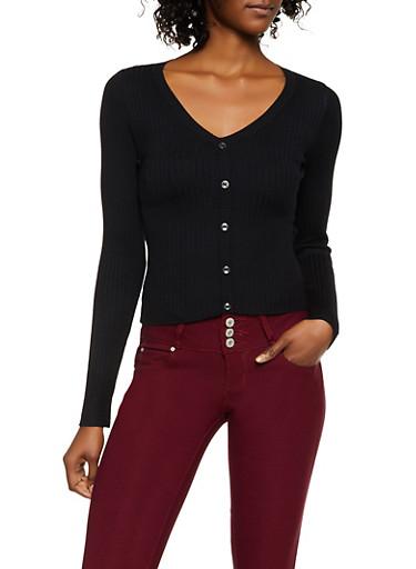V Neck Button Detail Sweater,BLACK,large