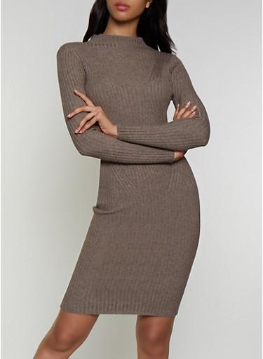 Lettuce Edge Mock Neck Sweater Dress,MOCHA,large