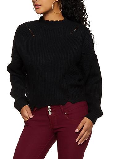 Mock Neck Knit Sweater,BLACK,large