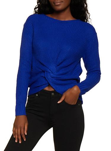Twist Front V Neck Sweater,RYL BLUE,large