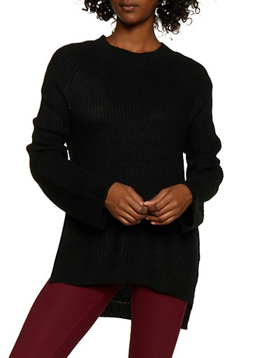 Solid Tunic Sweater,BLACK,large