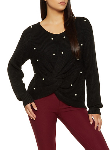 Twist Front Faux Pearl Studded Sweater,BLACK,large
