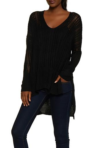 Oversized Knit Sweater,BLACK,large