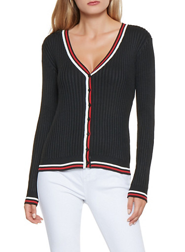 Contrast Trim Ribbed Knit Cardigan,BLACK,large