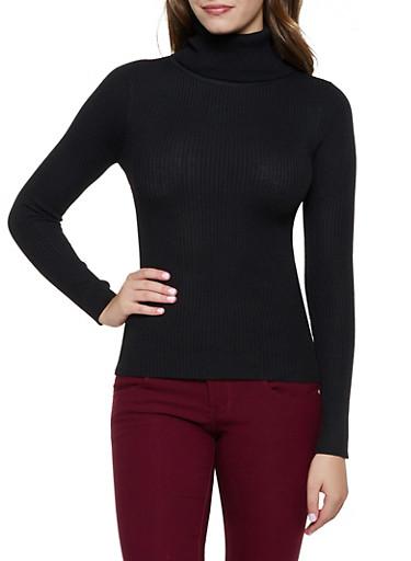 Long Sleeve Solid Turtleneck,BLACK,large