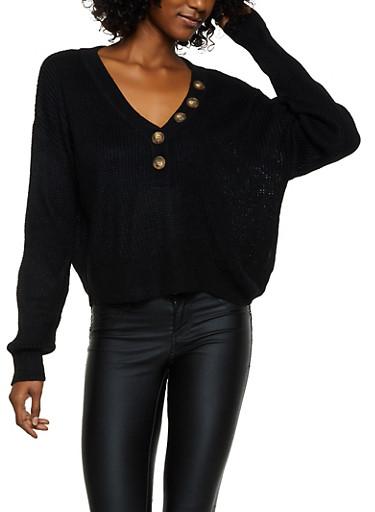 Button Detail Sweater,BLACK,large