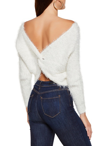 Feathered Knit Twist Back Sweater,IVORY,large