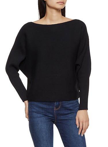 Ribbed Dolman Sweater,BLACK,large