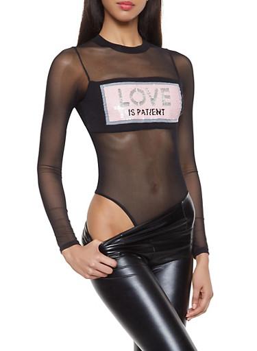 Love is Patient Reversible Sequin Graphic Bodysuit,BLACK,large