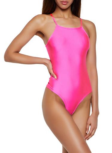 Square Neck Spandex Bodysuit,FUCHSIA,large