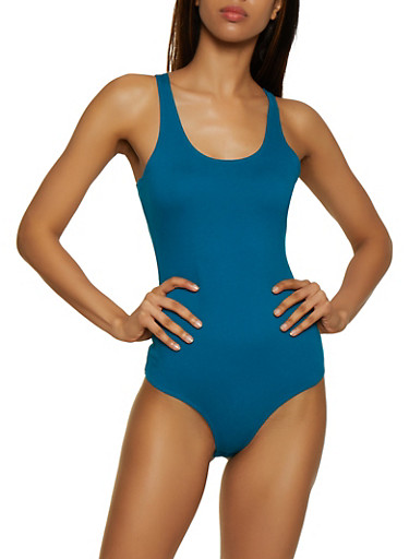 Seamless Solid Thong Bodysuit,JADE,large