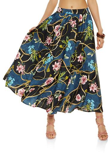Printed Maxi Skirt,TEAL,large