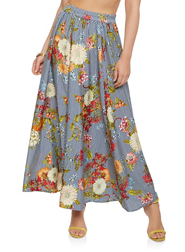 Striped Floral Maxi Skirt,NAVY,large