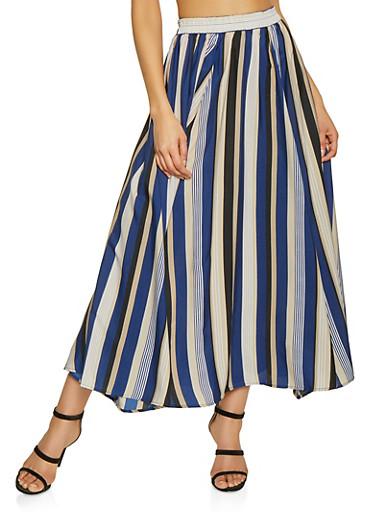 Striped Maxi Circle Skirt,BLUE,large
