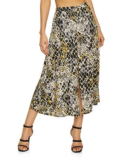 Snake Print Maxi Skater Skirt,YELLOW,large