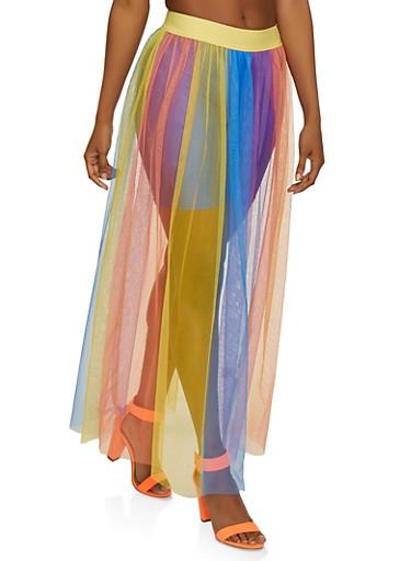 Rainbow Mesh Maxi Skirt,MULTI COLOR,large