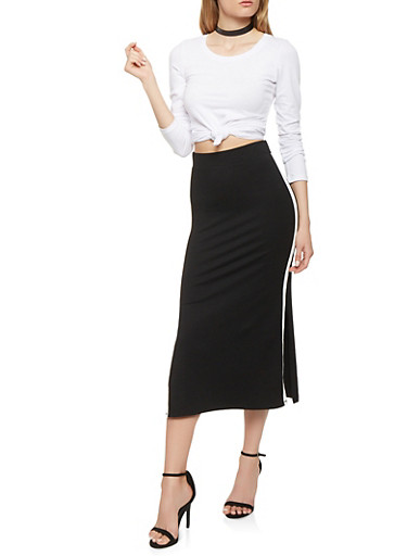 Side Stripe Pencil Skirt,BLACK,large