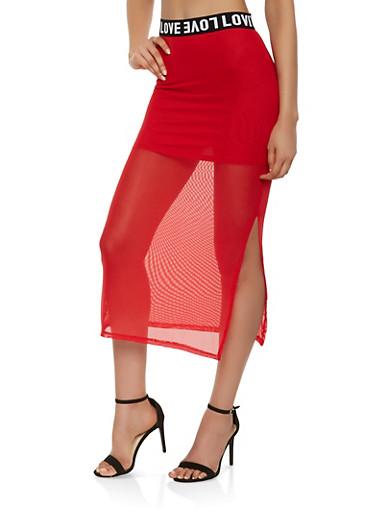 Love Graphic Trim Mesh Maxi Skirt,RED,large