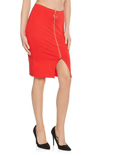 Zip Up Pencil Skirt,RED,large