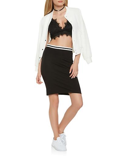 Striped Band Pencil Skirt,BLACK,large