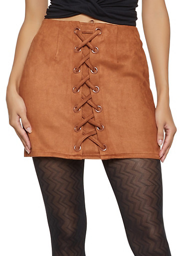 Lace Up Faux Suede Mini Skirt,BROWN,large