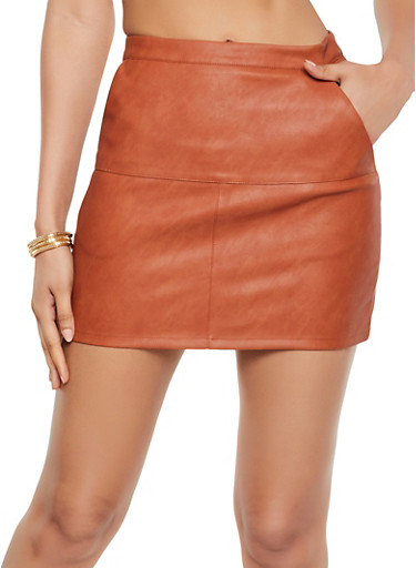 Zip Back Faux Leather Skirt,BROWN,large