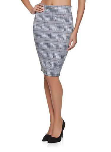 Plaid Pencil Skirt,RED,large